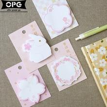DIY cute Kawaii cartoon rabbit beautiful cherry pink notebook postal note paper sticker Korean stationery