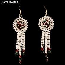 Jiayi jiaduo glamour indio para mujeres ornamentos vintage pendientes largos accesorios de la ropa de la boda del banquete regalo dropshipping