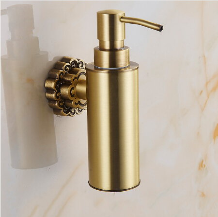 New Wall Mounted Carving Antique Bronze Finish Brass Material Soap Dispenser Bathroom Accessories Liquid Soap Dispenser