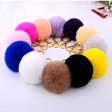 Fashion 15 Colors 8CM Rabbit Fur Ball Keychain Fur Pompons Keychain Keyring Llavero Pom Pom Key Chain for Keys Bag Pendant