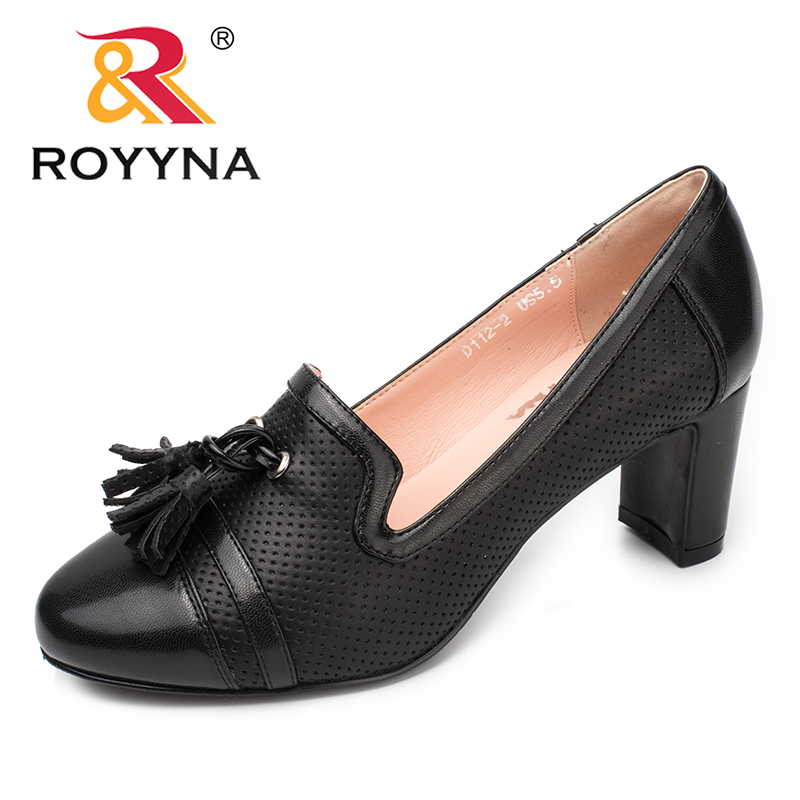 ROYYNA New Fashion Style Women Pumps Round Toe Women Dress Shoes High Heels Women Office Shoes Slip-On Lady Wedding Shoes 2017 shoes women med heels tassel slip on women pumps solid round toe high quality loafers preppy style lady casual shoes 17