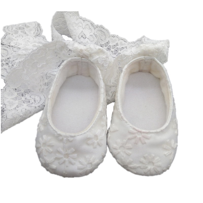 100days/Full Month Newborn Lace Embroidery Christening White Soft Soled Pure Handmade Princess Baby Girls Lace-up First Walker