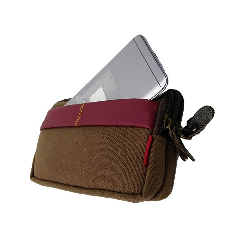 Men Retro Universal Belt Bag Double Zipper Wear Resistant Waist Bag Phone Case Pouch Wallet Cell Phone Bag Mobile Phone Belt