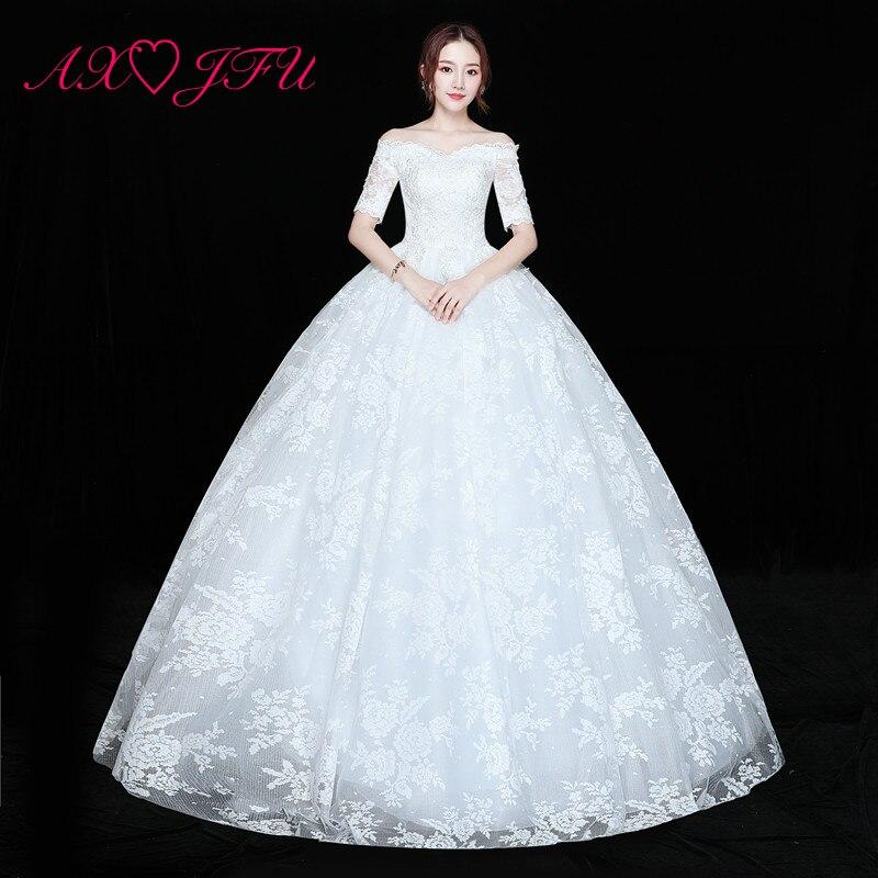 AXJFU Princess Rose Flower Lace White Wedding Dress Vintage Boat Neck Half Sleeve Turkey Bride Ruffles Lace Wedding Dress