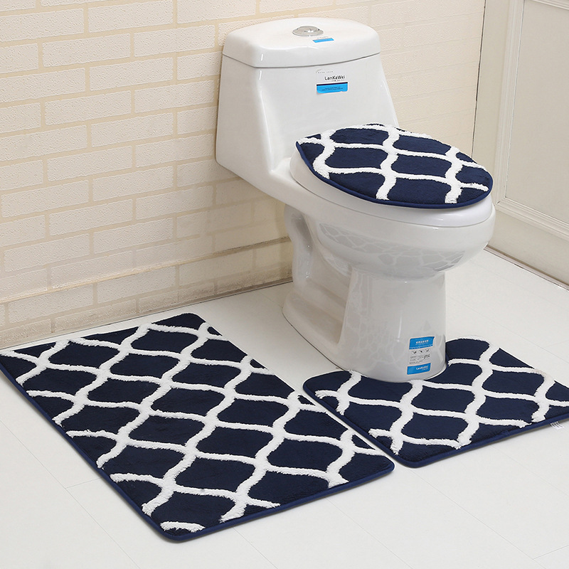 Outstanding Bathroom Toilet Seat Cover Rug Mat Moroccan Dark Red Blue Machost Co Dining Chair Design Ideas Machostcouk