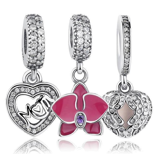 Original 925 Sterling Silver Radiant Orchid MÃE Do Floco De Neve Margarida Pingente Beads Fit Charm Bracelet Jóias Acessórios
