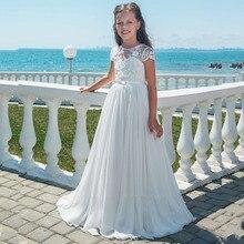 Платье с бантом для девочек платье для девочек с цветочным принтом украшенное бисером бальное платье с аппликацией на шнуровке платье для первого причастия платье для девочек Vestidos Longo