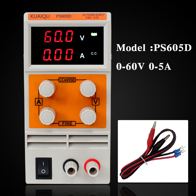 KUAIQU mini DC Power Supply,Switching laboratory power supply, Digital Variable Adjustable power supply 0-60V 0-5A PS605D mini adjustable dc power supply laboratory power supply digital variable voltage regulator 30v10a four display ps3010dm