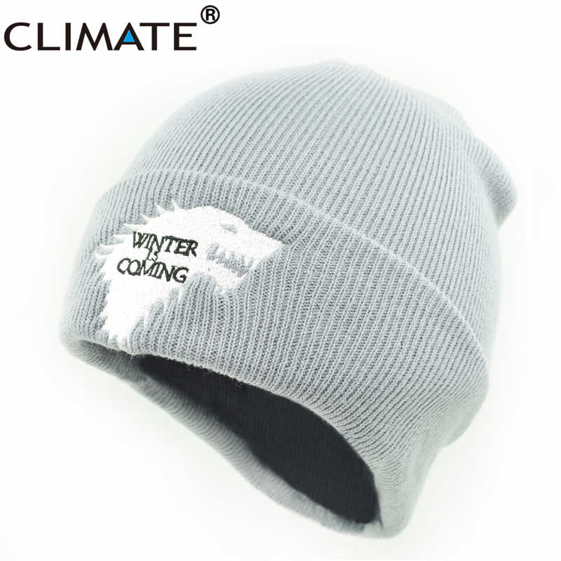 41b85523354d4 ... CLIMATE Men Beanie Hat Men Winter Hat is Coming Game Of Thrones Hat  Warm House Of ...