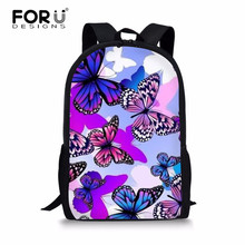 84e715a992 FORUDESIGNS Schoolbag Butterfly Purple Printing School Backpack for Girls  Satchel Bookbag Children Mochila Infantil Sac Enfant
