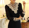 Black Sexy Women's Long Sleeve Lace Floral Top Shirt Blouse Size 10 12 14 16 18