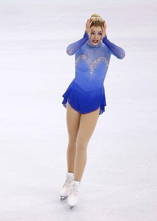 konståkningsklänning blå varm försäljning skräddarsydd skridskoåkning tävlingsklänning gratis fraktklänningar till skridskoåkningskvinnor
