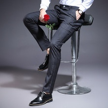 2019 New High Quality summer trousers men cotton Slim Fit long pants Men Wedding Business Straight Classic long pants for Man