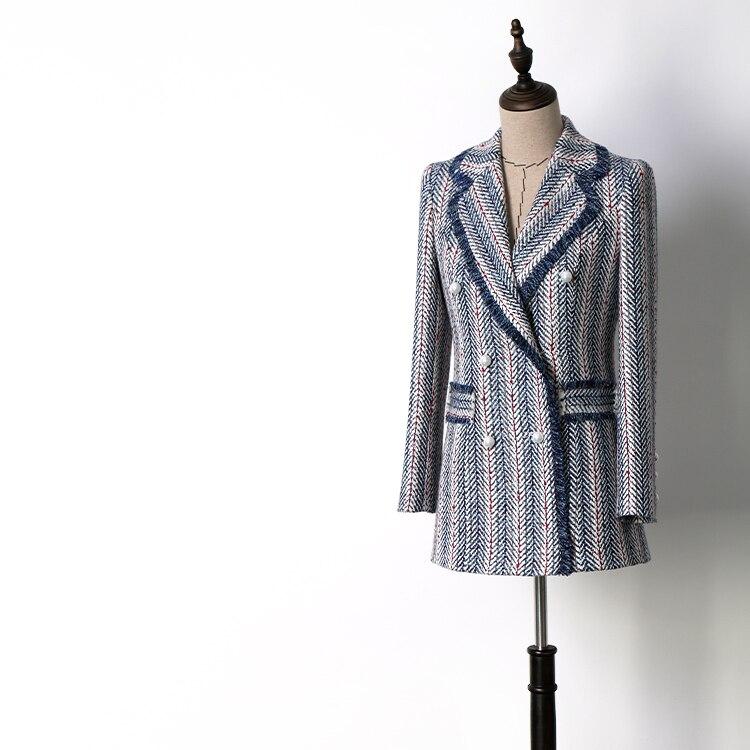 Women fashion elegant striped tweed blazer double breasted tassel formal blazers outerwear new 2018 autumn spring
