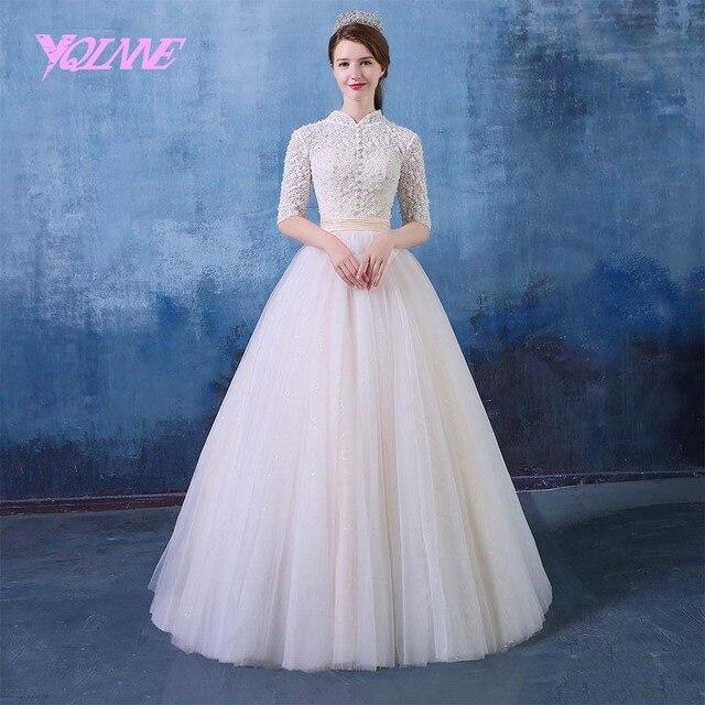 Yqlnne 2018 High Collar Uk Wedding Dress Half Sleeves Pearls Beading