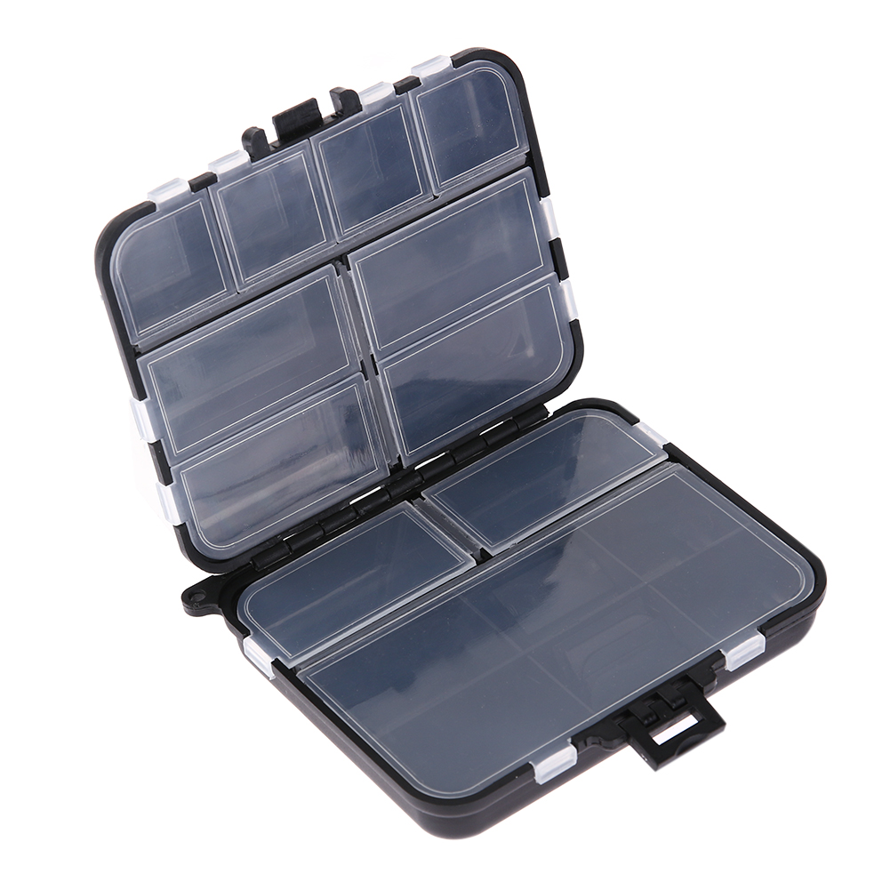 Mini 16 Compartment Black ABS Fishing Tackle Box Fishing Lure Bait Tackle Box Crush-Resistance Fishing Tool Storage Box