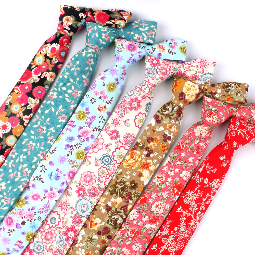 Floral Print Neck Tie For Men Casual Men Ties Fashion Cotton Mens Necktie For Wedding Business Suit Tie