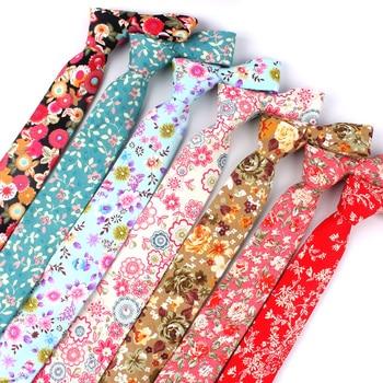 Floral Print Neck Tie For Men Casual Ties Fashion Cotton Mens Necktie Wedding Business Suit