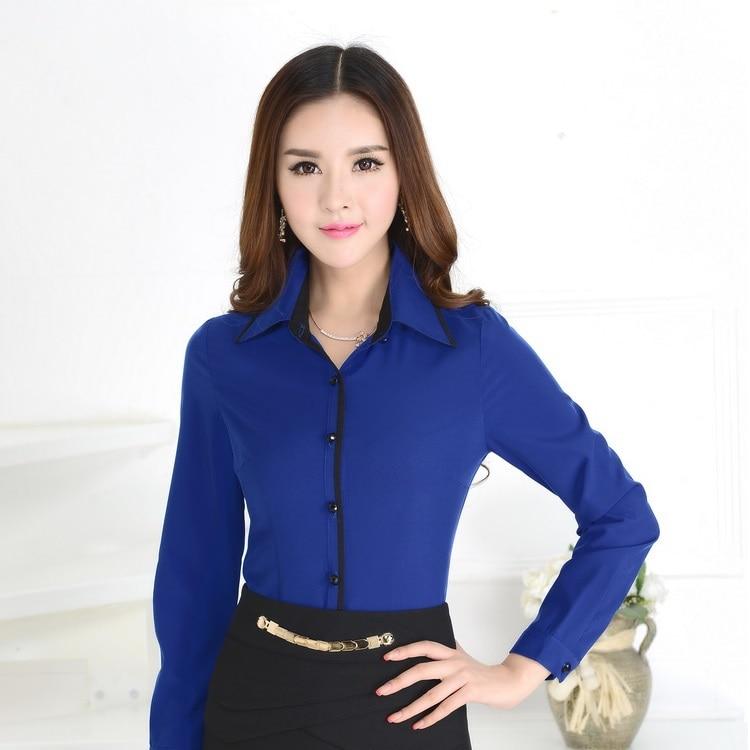 Formal Blue Shirts Women Work Blouses Long Sleeve Ladies