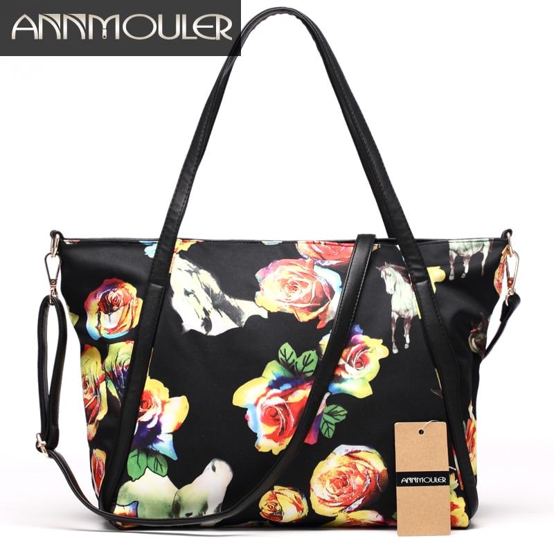 Annmouler Nylon Casual Tote Bag Fashion Women Handbags High Quality Ladies Shoulder Bag Large Capacity Crossbody Bag Rose Bag annmouler women shoulder bag high