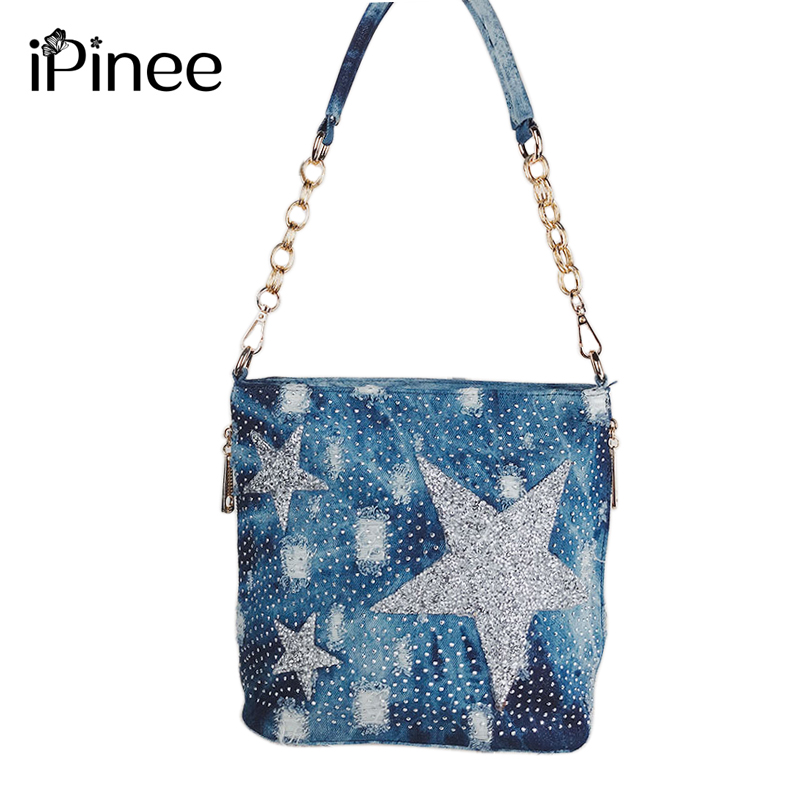 iPinee Women Denim Bag Luxury Fashion Hot Drilling Messenger Bags Female Broken Hole Crossbody Bags for Women Shoulder Bags 2018 o henry 100 valitud novelli 5 raamat