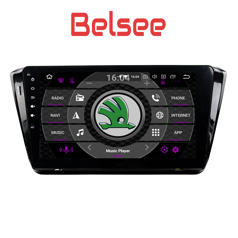 Belsee 10.1 inch Touch Screen Radio Stereo HD Android 8.0 Head Unit 8 Core 4+32GB Autoradio Navi for Skoda Superb 2015 2016 2017