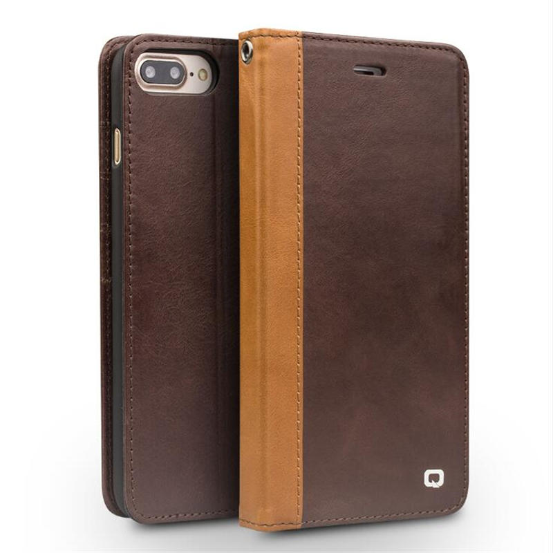 QIALINO for iphone 7 Genuine Leather Case for iphone 7 Plus Real Leather Luxury Flip Book Cover Cow Boy Stype for 4.7/5.5 inches