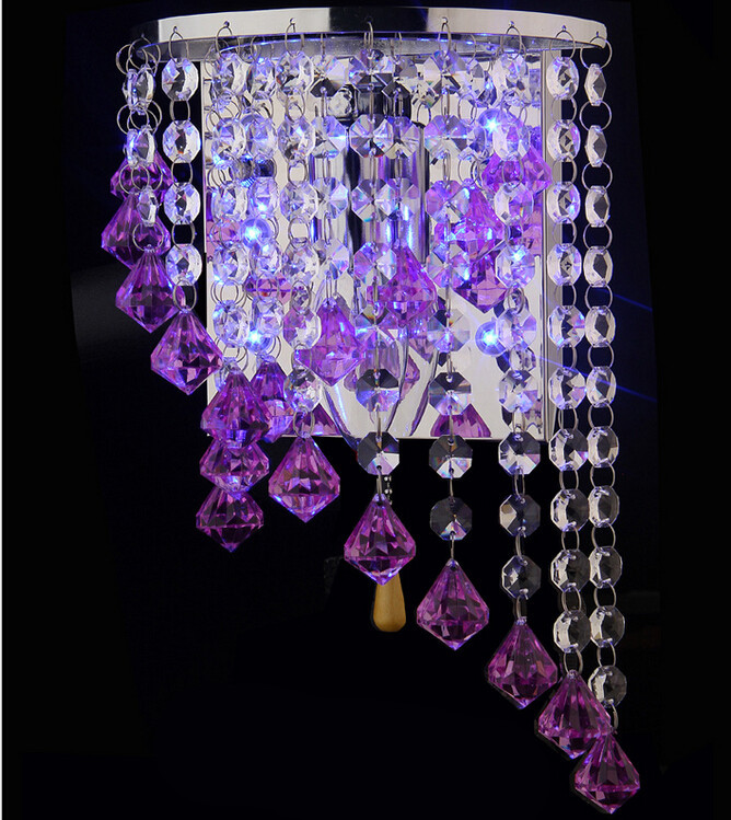 ФОТО modern fashion colorful crystal led changeable wall lamp for aisle bed room living room 1895