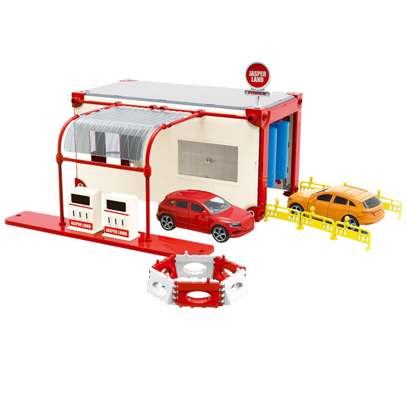 DIY Plastic Model Toy Simulation Self-installed Gas Station Scene With 2 Alloy Cars Model Toy Track Scene Accessories