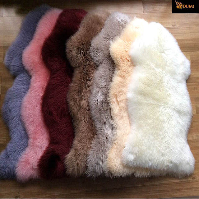 1 Pc Free Shipping 100 Sheepskin Carpet Long Hair Rugs Dyed Color