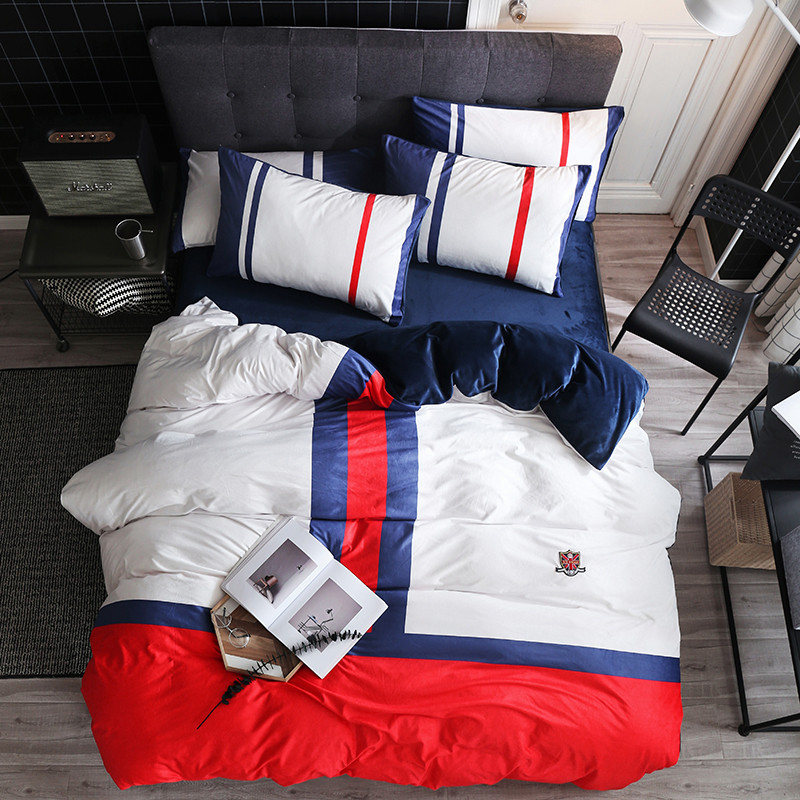2018 Super soft baby velvet British style  Bedding Set 4Pcs Queen Size Bed Sheet set Duvet cover Pillowcases2018 Super soft baby velvet British style  Bedding Set 4Pcs Queen Size Bed Sheet set Duvet cover Pillowcases