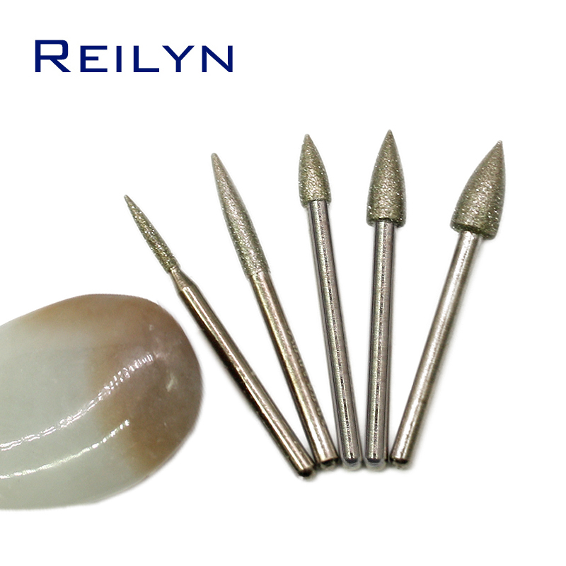 5pcs Diamond Grinding Point Stone/Jade/Glass Grinding Burr 3mm X 2/3/4/5/6mm Grit 120# Diamond Metal Peeling Bits Emery Burr