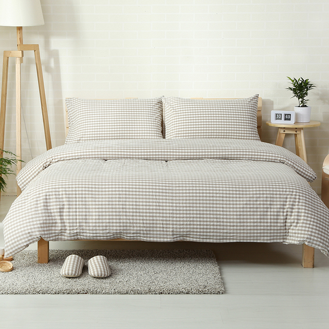 4pcs 100% washed Cotton muji style plaid bed cover set-in Bedding ...