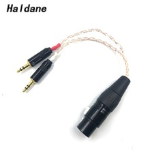 Free Shipping Haldane 8 Cores 7N OCC Cable 2 x 3.5mm Male to 4-pin XLR Female Balanced Audio Adapter For PHA-3 Pono Player 15cm free shipping haldane 3 5mm male to 3 pin xlr female male audio adapter cable 5n ofc copper hifi xlr audio cable