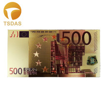 NEW & Colorful Euro Banknotes 10pcs/lot 500 EUR Gold Foil Banknote For Collection and Gifts