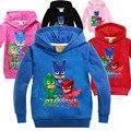 Niños niñas Otoño PJMASKS muchacha del muchacho del suéter con capucha de manga larga Camiseta de Los Niños Camisetas de la capa 4-8 t 5 colores 2210