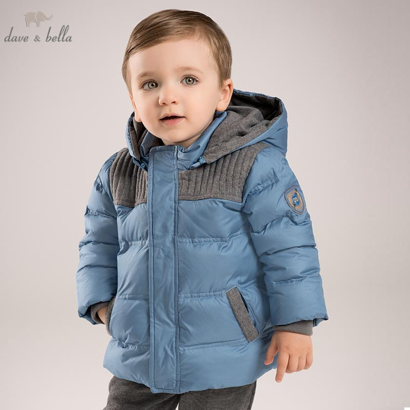 DB5615 dave bella winter infant baby boys down jacket children white duck down padded coat kids blue hooded outerwear