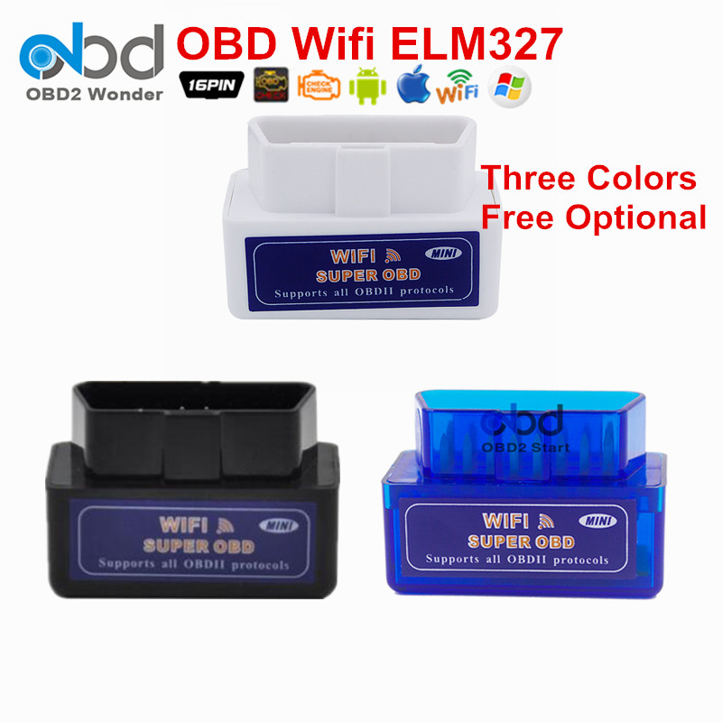 Prix pour Trois Couleurs ELM327 Wifi Auto Interface De Diagnostic De Voiture Scanner Véhicule Outils ELM 327 Prend En Charge Tous Les Protocoles OBDII Livraison Gratuite