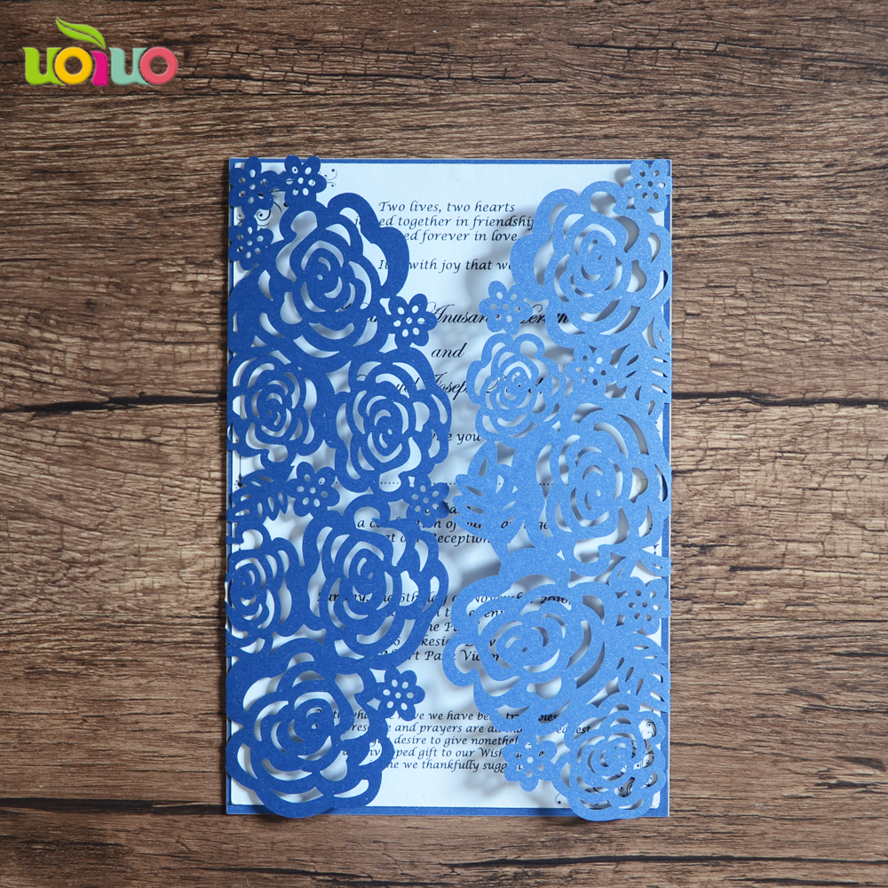 Us 10 0 Royal Blue Handmade Wedding Invitation Cards Laser Cut Rose In Invitations From Home Garden On Aliexpress