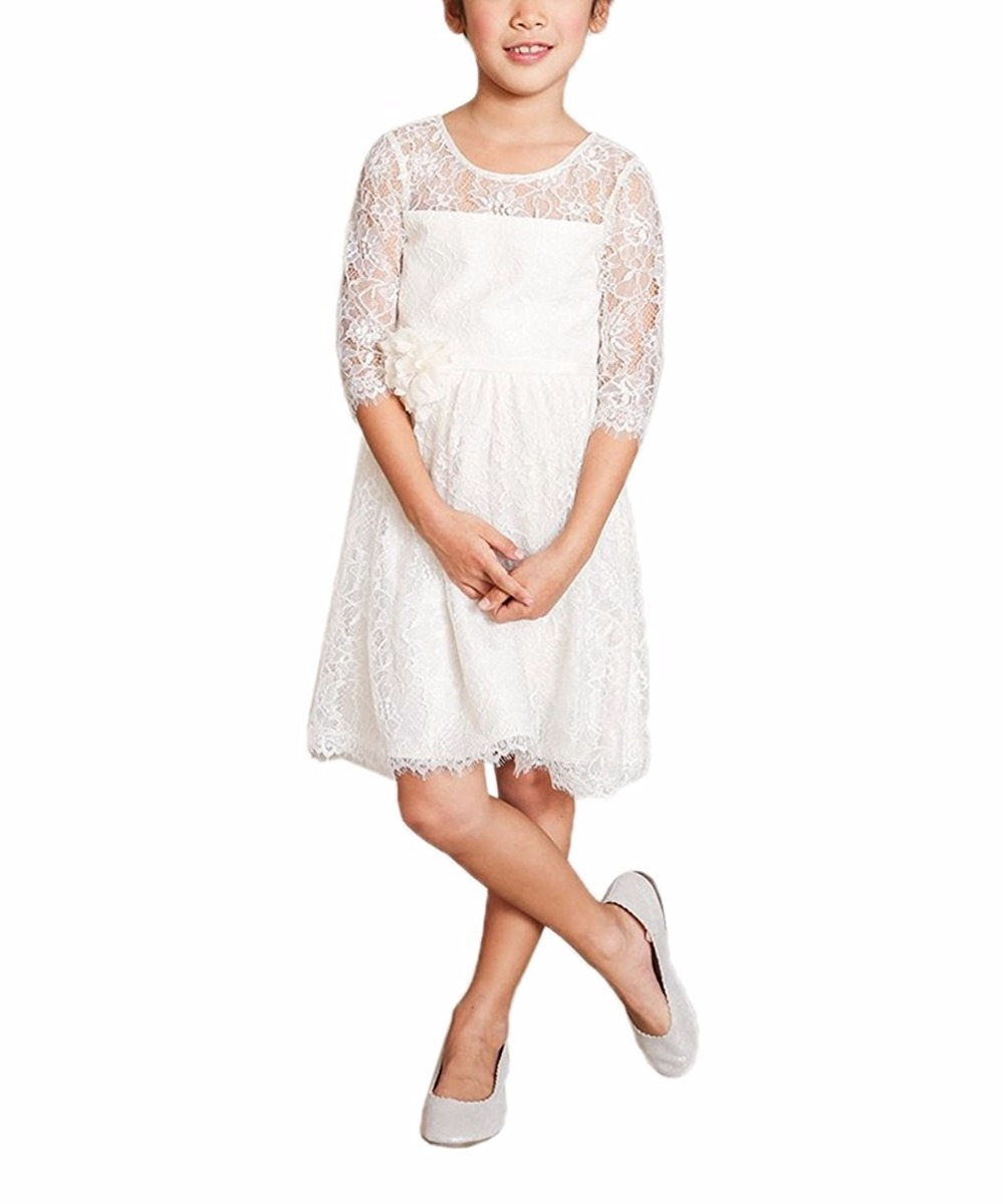 3/4 Sleeve A-Line Lace Flower Girl Dresses White Mother Daughter Dresse For Girl Party Knee Length Kids Dresses for Girls цена и фото