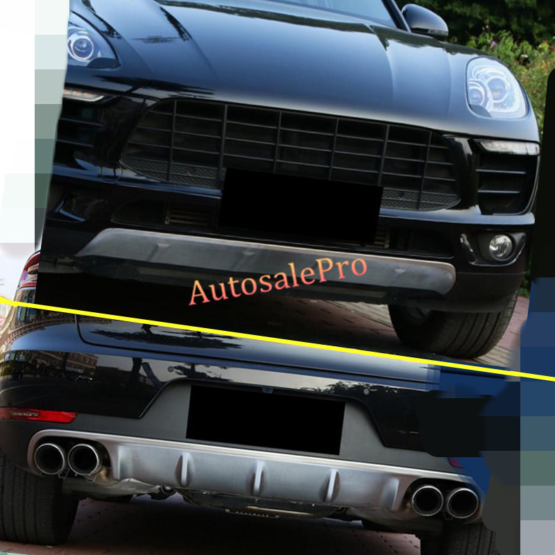 Brushed Stainless Steel Rear Bumper Protector Guard 2014-2017 Porsche Macan