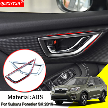 Car Styling 4pcs ABS Car Interior Door Bowl Stickers Sequins Cover Frame Auto Decoration Accessories For Subaru Forester SK 2019