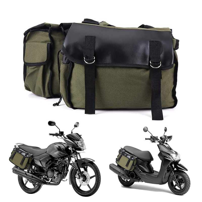 1pc Back Pack Canvas Luggage Vintage Bag Motorcycle Saddlebags Large Capacity Accessories Suitable For Motorcycles