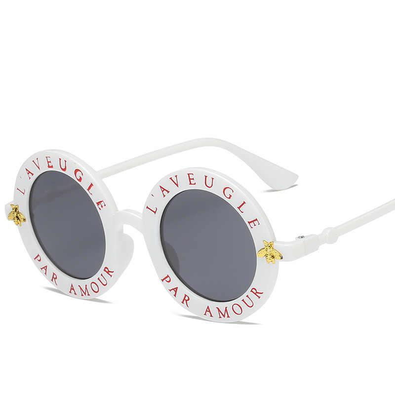 04b4977bc58d1 ... XaYbZc Retro Round Sunglasses English Letters Little Bee Sun Glasses  Men Women Brand Glasses Designer Fashion ...