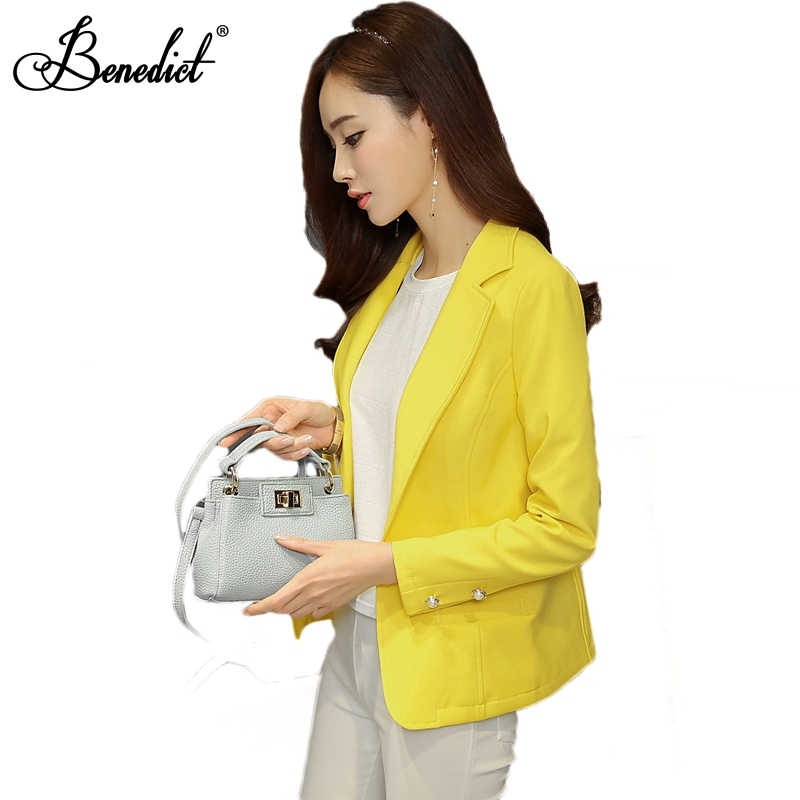 2a92e2dc75b Benedict 2017 blazer femininos Blazer Female Laper Single Button Long Sleeve  Suit Jacket Cardigan Yellow Blazer Plus Size S-XXL