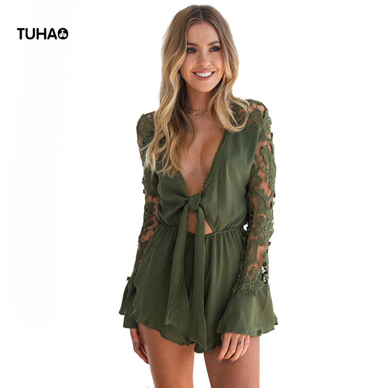 TUHAO Cotton Linen Playsuits Women Lace Patchwork Knotted V-neck Sexy Summer Shorts Breathable Bohemian Rompers T81101