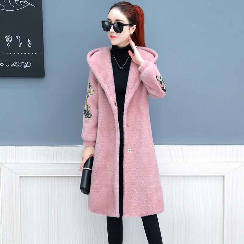 Lâche Cachemire Cardigans White Automne pink Broderie V867 2019 khaki Laine Manteaux À Printemps Femelle Décontracté Dames Outwear Capuche Femmes blue Vison wZOiXuTPkl