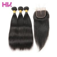 Hair Villa One Pack Remy Brazilian Straight Hair Bundles With Closure Human Hair Weave Bundles With