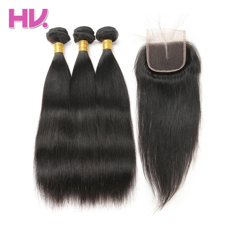 Hair Villa One Pack Remy Brazylijskie proste zestawy do włosów z - Włosy ludzkie (na czarno)