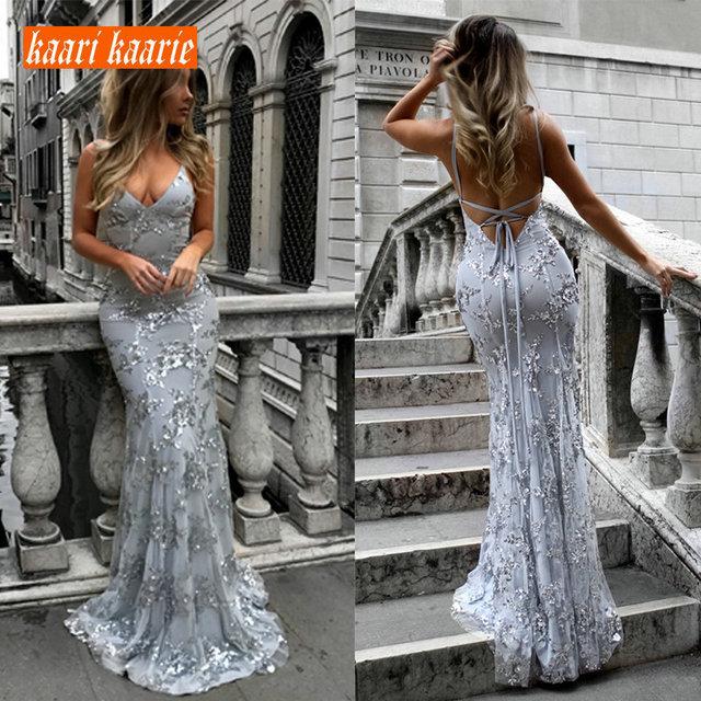 Sexy Silver Mermaid Long Evening Dresses 2019 Evening Gowns For Women V-Neck Embroidery Lace Backless Cheap Party Dress Prom New